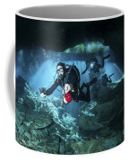 Technical Divers Enter The Cavern Coffee Mug by Karen Doody