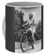 Teeng Girl Riding Bike On Sidewalk Coffee Mug