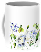Template For Card With Decorative Wild Flowers Coffee Mug