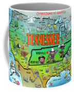 Tennessee Usa Cartoon Map Coffee Mug