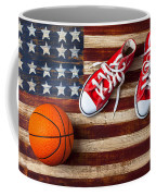 Tennis Shoes And Basketball On Flag Coffee Mug