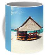 Thatched Roof Cottage/shack On A Perfect White Sand Tropical Beach Bali, Indonesia Coffee Mug