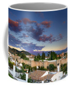 The Alhambra Palace And Albaicin At Sunset Coffee Mug