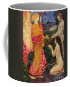 The Angel Offering The Fruits Of The Garden Of Eden To Adam And Eve Coffee Mug by JBL Shaw