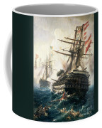 The Battle Of Lissa Coffee Mug by Constantin Volonakis