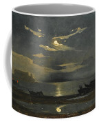 The Bay Of Naples By Moonlight With The Castel Dell'ovo Beyond Coffee Mug