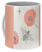 The Bee And Red Poppies  Coffee Mug