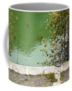 The Bicycle Is A Ubiquitous Form Of Transport In Europe And This Owner Has Literally Gone Fishing. Coffee Mug
