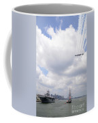 The Blue Angels Flying Over Uss Constitution Coffee Mug