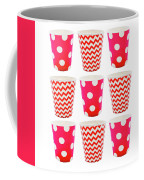 the Card with Red paper disposable glass in polka dot and zigzag isolated on white with copy space Coffee Mug