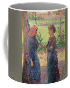 The Chat Coffee Mug by Camille Pissarro