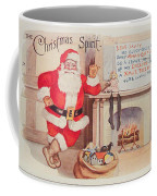The Christmas Spirit Vintage Card Santa Next To Fireplace Coffee Mug