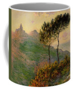 The Church At Varengeville Against The Sunlight Coffee Mug by Claude Monet
