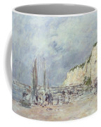 The Cliffs At Dieppe And The Petit Paris Coffee Mug by Eugene Louis Boudin