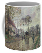 The Coach To Louveciennes Coffee Mug by Camille Pissarro