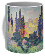 The Cypresses At Cagnes Coffee Mug by Henri-Edmond Cross