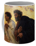 The Disciples Peter And John Running To The Sepulchre On The Morning Of The Resurrection Coffee Mug by Eugene Burnand