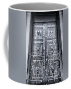 The Door At The Parthenon In Nashville Tennessee Black And White Coffee Mug