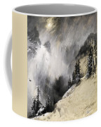 The Falling Flakes Mountain Scene. Yosemite A Mountain Snowfall Coffee Mug