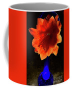 The Flower Of Cactus In A Blue Vase. Coffee Mug