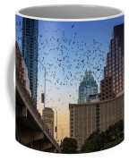 The Frost Bank Tower Stands Guard As 1.5 Million Mexican Free-tail Bats Overtake The Austin Skyline As They Exit The Congress Avenue Bridge Coffee Mug