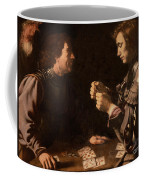The Gamblers Coffee Mug by Michelangelo Caravaggio