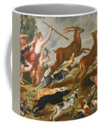 The Goddess Diana And Her Nymphs Hunting Deer Coffee Mug