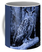 Majestic Great Horned Owl Blue Indigo Coffee Mug