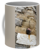 The Hanging Jar - Rough Weathered Stones Rust And Ceramics - A Vertical View Coffee Mug