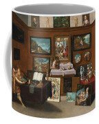 The Interior Of A Picture Gallery With Connoisseurs Admiring Paintings Coffee Mug