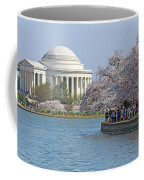 The Jefferson Memorial With Cherry Blossoms And A Lot Of People Coffee Mug