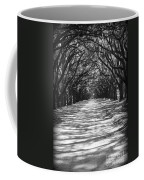 Live Oaks Lane With Shadows - Black And White Coffee Mug