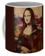 The Mona Lisa Colorful Watercolor Portrait On Worn Canvas Coffee Mug