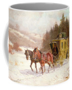 The Post Coach In The Snow Coffee Mug by Fritz van der Venne
