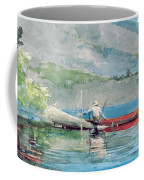 The Red Canoe Coffee Mug by Winslow Homer