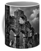 The Roman Aqueduct At Aspendos, Turkey.    Black And White Coffee Mug