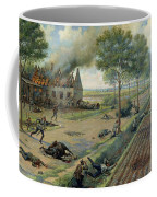 The Russian Cavalry Fighting The Germans In A Village In 1915 Coffee Mug by Viktor Viketyevich Masurovsky