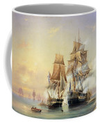 The Russian Cutter Mercury Captures The Swedish Frigate Venus On 21st May 1789 Coffee Mug by Aleksei Petrovich Bogolyubov