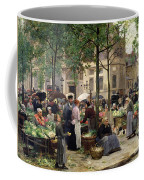 The Square In Front Of Les Halles Coffee Mug by Victor Gabriel Gilbert