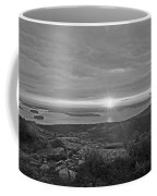 The Sunrise From Cadillac Mountain In Acadia National Park Black And White Coffee Mug