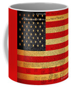 The United States Declaration Of Independence - American Flag - Square Coffee Mug