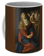 The Virgin In Prayer At The Foot Of The Cross, With Crying Angels Coffee Mug