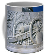 The Vittorio Emanuele Monument Marble Relief Of A Canon Standards Rome Italy Coffee Mug
