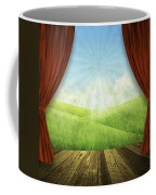 Theater Stage With Red Curtains And Nature Background  Coffee Mug