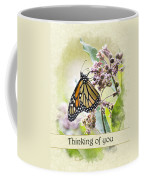 Thinking Of You Monarch Butterfly Greeting Card Coffee Mug