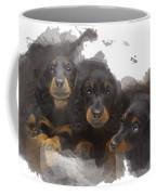 Three Adorable Black And Tan Dachshund Puppies Coffee Mug