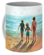 Three Beach Children Siblings  Coffee Mug