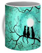 Three Black Cats Under A Full Moon Coffee Mug