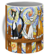 Three Cats On A Fence Coffee Mug