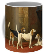 Three Fox Hounds In A Paved Kennel Yard Coffee Mug